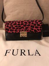 Furla Metropolis Mini Calf Hair Grey Leather Pink Leopard Crossbody