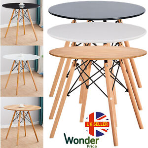 Eiffel Style Round Lounge Dining Table and Retro Style Chairs Solid Wooden Legs