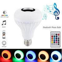 LED Wireless Bluetooth Bulb Light Speaker E27 RGB Smart Music Play Lamp Remote S