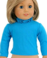 "Teal Ruffle T-Shirt fits American Girl Dolls 18"" Doll Clothes Long Sleeve"