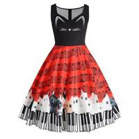 Womens Cat Musical Note Printing Sleeveless Party Dress Vintage Lace Dresses AU