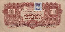 Tschechoslowakei 500 Kronen (1945) Pick 055s (2+) Specimen