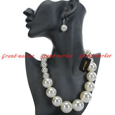 Fashion Jewelry Chain Resin Pearl Chunky Choker Pendant Bib Necklace Earrings