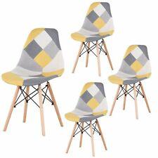 Pack de 4 Sillas de comedor Patchwork silla diseño nórdico retro estilo Amarillo