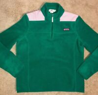 Vineyard Vines Zip Pullover Fleece Sweater Green / Pink Women's Size Medium