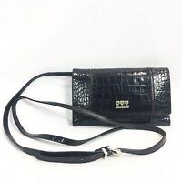 Brighton Crossbody Wallet Croc Embossed Black Leather Small Purse Bag Checkbook