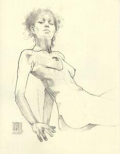 Graphite Drawing 11x14in   Darine Blue Heart I   Nude Figure Leo Charre