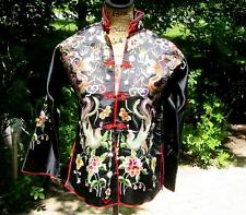 Antique Vintage Chinese Embroidered Black Silk Phoenix Dragon Peony Jacket Robe