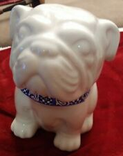 Awesome Pit Bull/ Bull Dog Porcelain Cookie Jar With Blue Bandana Collar