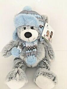 "St Jude Jack Teddy Bear Grey Hat Scarf Blue 16"" Plush Hugfun NEW"