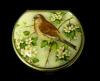 Vintage Pill Box With Bird And Flowers - Gold-Style - Porcelain - Made in Italy