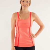 Lululemon 6 Top Tonka Stripe Flare Wholehearted Tank Orange Breathable Stretch 6