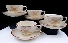 """WINFIELD USA 4 PINK PASSION FLOWER 2 1/8"""" FLAT CUP & SAUCER SETS 1940's-1950's"""