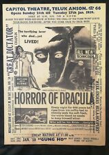1959 Peter Cushing < Horror Of Dracula > showing in Malaya movie flyer