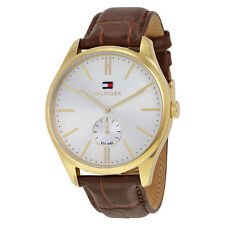 Tommy Hilfiger Curis Silver Dial Brown Leather Mens Watch 1791170