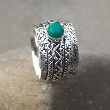 Turquoise 925 Sterling Silver Plated Spinner Ring Meditation Ring Size 8 TT0034
