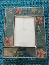 LEADED GLASS WINDOW PANEL SUNCATCHER DRIED FLOWERS PICTURE FRAME