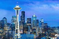 Seattle Washington Skyline Space Needle at Dusk Photo Art Print Poster 18x12 inc