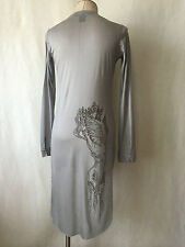 Thomas Wylde Grey Embellished Long Sleeve Tunic Shirt, Dress New Size L.