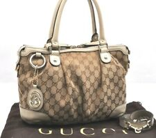 Authentic GUCCI Sukey Shoulder Hand Bag 2Way GG Canvas Leather Beige 95228