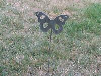 Beautiful Butterfly Garden yard art metal stake flower insect bug #9