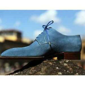 Handmade Men's Genuine Blue Suede Derby Lace up Shoes