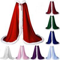 New Winter Wedding Cloak Cape Faux Fur White Ivory Hooded Jacket Long Warm