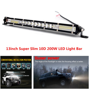 13in 200W LED Light Bar Combo Spot Flood Beam Light Fit For Off Road Truck ATV