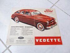 Ford Vedette 1949 Poissy catálogo folleto folleto prospekt sucio