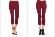 Peach Skin Feel SOLID BURGUNDY Capri Leggings PLUS OS fits size 12-22/24w
