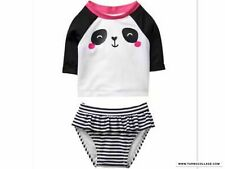 NWT GYMBOREE BABY BUDDIES PANDA BEAR TWO PIECE BATHING SUIT SWIMWEAR SZ 18-24 MO