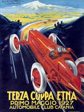 VINTAGE 1927 TERZA COPPA ETNA AUTO RACING POSTER PRINT 24x18