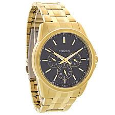 Citizen Quartz Chronograph Mens Black Dial Gold Tone Watch AG8342-52L