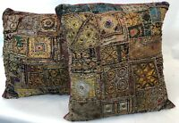 """Antique Pair LARGE 22"""" India Middle East Embellished Patchwork Throw Pillows"""