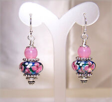 Blue with Pink & White Flowers Murano & Pink Jade on Sterling Silver Earrings