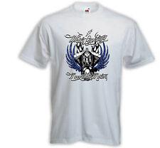Biker t-shirt White Lightning blanco Chopper V-Twin Skull rockabilly
