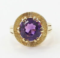 14k Yellow Gold Unique Amethyst Stone Ladies Ring ~6.8g