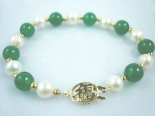 Genuine White Pearl Light Green Jade Yellow Gold Plated Fortune Clasp Bracelet