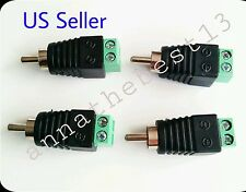 4 bare Speakers Wire Cable to Audio MALE RCA Connectors Adapter Jack Plugs Bose