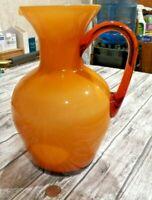 Beautiful Two Tone Yellow / Amber Hand Blown Large Glass Pitcher