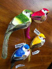 7'' SPARROW MUSHROOM BIRD WITH FEATHER TAIL NEW LOT 4 BLUE GOLD BURGUNDY GREEN