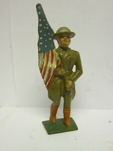 Vintage Barclay Manoil Cast Iron Toy Soldier w/ American Flag