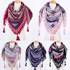 Fashion Bohemian Boho Women Square Scarves Tassel Printed Women Wraps Scarf