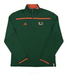 University of Miami Hurricanes Adidas Green Climalite Performance 1/4 Zip LS NEW