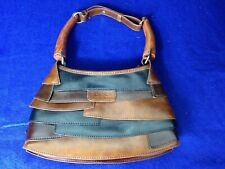 Vintage Gucci Layered Piecework Hobo Purse Tote Bag with Wooden Handles