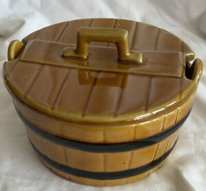 VINTAGE ROUND BUTTER DISH CERAMIC CHURN SHAPED BUTTER DISH