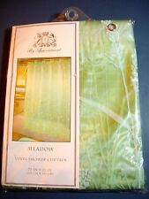 "Vinyl Shower Curtain - ""MEADOW MIST"" - Pale Green W/Vines In White - NIP"