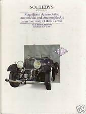 SOTHEBY'S Automobiles Bentley Duesenberg Carroll Collection Auction Catalog 1990