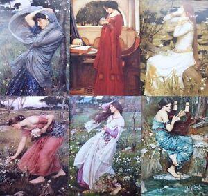 "Pre-Raphaelite 6 art prints J. W. Waterhouse 6"" x 4"" Classical Mythology artist"