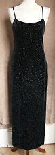 Stunning Full-Length Black Velvet Dress w/Glitter Dots - Size 10 Marks & Spencer